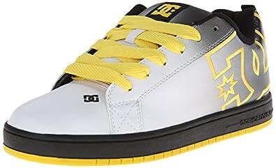 DC Men's Court Graffik SE Grey/Yellow Sneaker 7.5 D (M)