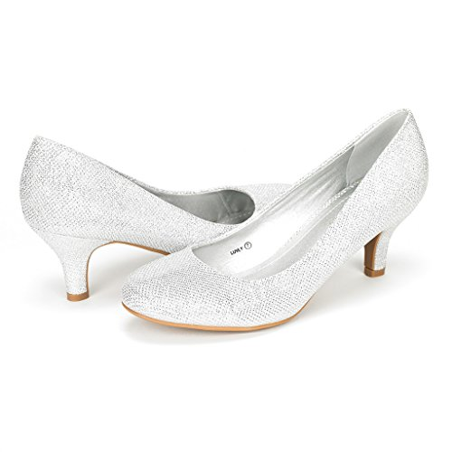 DREAM PAIRS LUVLY Women's Bridal Wedding Party Low Heel Pump Shoes Silver Size 7.5