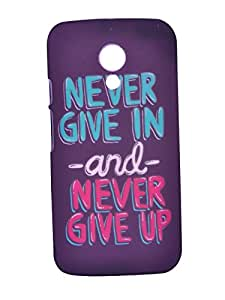 Mobidress Feel & Glow NeverGiveUp Hard Back Cover For MOTO G2