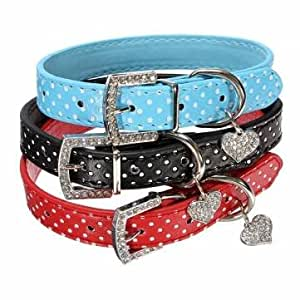 Amazon.com: Pakhuis Adjustable Pet Dog PU Leather Dot Buckle Strap