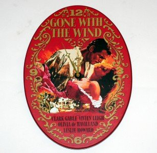 Red Oval 'Gone With the Wind' Wooden Wall Clock by Vandor 11 x 15