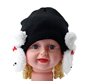 ZPS 1PCS Lovely Wool Baby Winter Hat with Bunny Earmuffs as Christmas Gift (Black)