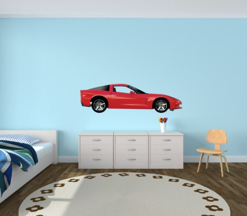 Sports Car Wall Decal, Corvette Car Stickers, Side View Car Decal