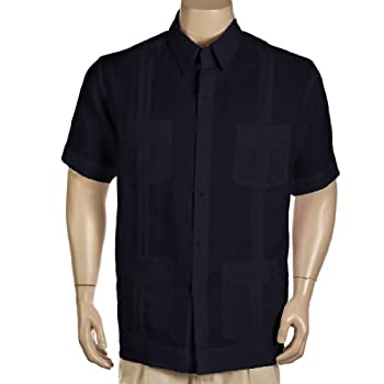 100% Linen short sleeve black Guayabera shirt