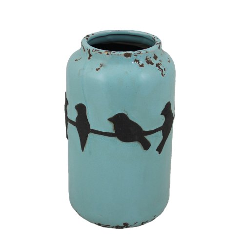 Essential Décor Entrada Collection Birds Ceramic Vase, 6.3 by 10.83-Inch, Blue with Black