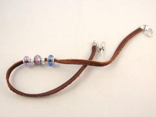 Leather Bracelet Beaded, Handmade
