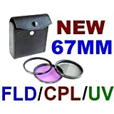 NEEWER 3 Piece Lens Filter Set for 67mm Cameras - FLD, UV, CPL & Carrying Case