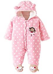 Wantdo Baby\'s Toddler Velour Winter Autumn Cute Footed Jumpsuit Front Button Pink 6-9 Months