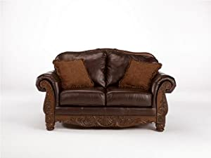 Stationary Leather North Shore Dark Brown Loveseat