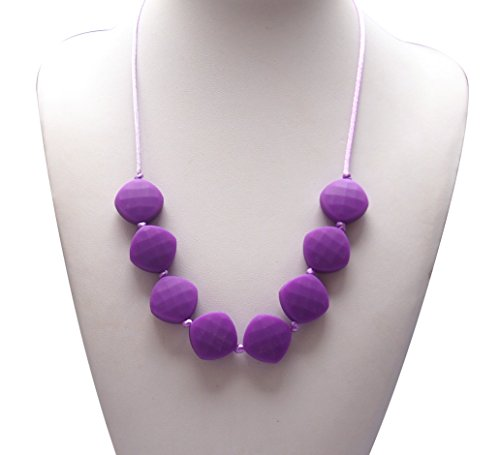 Silicone Teething Necklace - by Modern Ohana - BPA Free, Silicone Jewelry for Mom and Baby [Diamond Square Textured Beads] (Lavender)