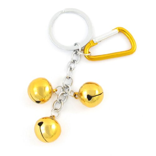 Gold Tone Metal 3 Bells Pendant Carabiner Key Ring Keychain Bag Decor