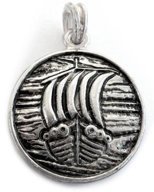 Ciondolo Naglfar, catena in argento Sterling 925, ciondolo Nagelfar, vichinghi drachensilber