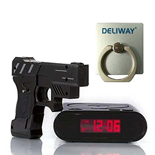 DELIWAY® Newwest Version Novelty USB Gun Alarm Clock Funny Target Shooting Game...