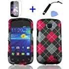 4 items Combo: Mini Stylus Pen + LCD Screen Protector Film + Case Opener + Black Red Grey Argyle Checker Design Snap on Hard Shell Cover Faceplate Skin Phone Case for Straight Talk Samsung Galaxy Proclaim 720C SCH-S720C / Verizon Samsung Illusion i110