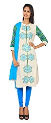 Rama Suit Set of Embroidery worked White Color Chinese Collar Neck, 3/4 Sleeve, Cotton Fabric Women Kurti with Blue Color Legging Duppatta