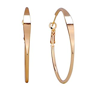 Pugster 18k Gold Plated Simple Hoop Earrings