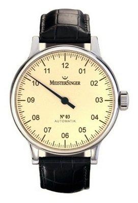 MeisterSinger - Reloj de pulsera hombre, piel, color negro