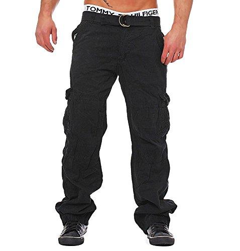 M222 Herren Cargo Jeans Army Hose Vintage Cargohose Loose Fit Chinohose, Farben:Schwarz;Größen:W36 (Etikett 52)