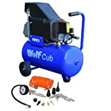Wolf Cub 24 Liter, 1.5HP, 6.35CFM, 230v, MWP 116psi Air Compressor + 11 Piece Air Tool Kit 5 Meter COIL Hose