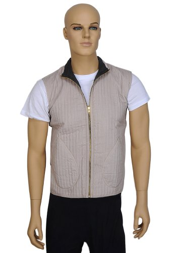 Designer Indian Pretty Look Light Weight Cotton Short Reversible Quilted Mens Jacket Size S