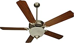 Craftmade K10623 Pro Builder 201 Ceiling Fan with Contractor Standard Dark Oak Blades and White Frost Light Kit, Brushed Satin Nickel, 52\