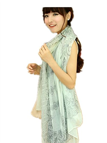 Girls Fashion Soft Scarf Wrap Chiffon Shawl Silk Scarvesgreenpattern Fashion Scarf With Hammer Pattern