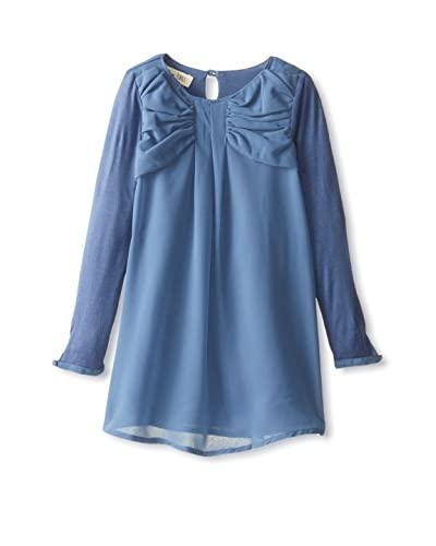 Jam on Toast Kid's Classic Bow Dress with Chiffon Layer and Long Sleeve