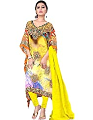 Exotic India Primrose-Yellow Choodidaar Kaftan Suit With Digital-Print - Yellow