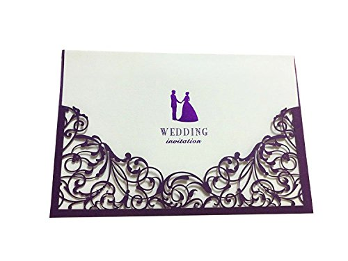 PONATIA 50 Pcs Laser Cut Wedding Invitations Cards Kits With Envelope and Seal For Weeding Party (Purple)