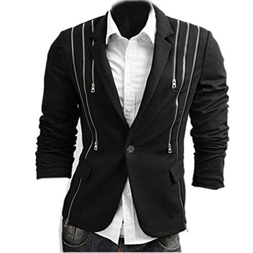Partiss Herren Freizeit Sakko Blazer Anzugsjacke mit Reissverschluss