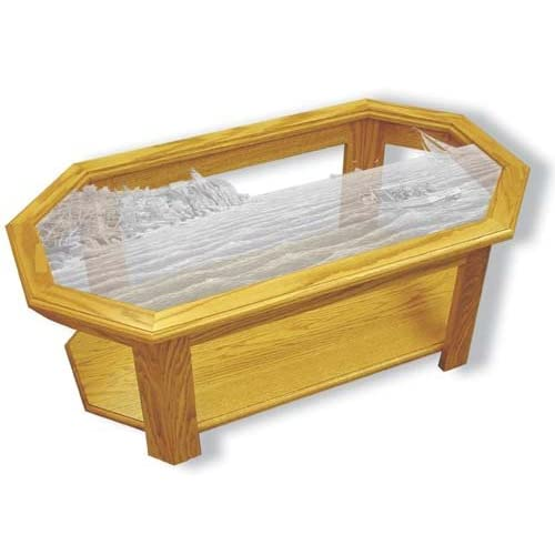 Oak Glass Top Coffee Table With Split Rock Lighthouse Etched Glass Split Rock