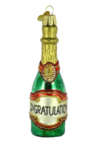 Old World Christmas Champagne Bottle Glass Blown Ornament