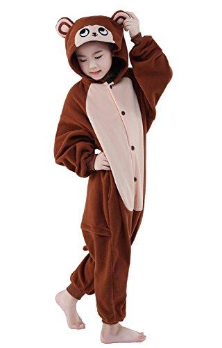 [NEWCOSPLAY Children Onesie Cosplay Costume Pajamas (M, Coffee Monkey)] (Child Monkey Costumes)