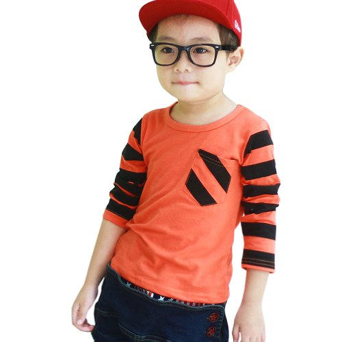 Little Hand Little Boys' T-Shirts Long Sleeve Striped Tops 2-7 Years front-1021812