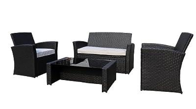Bentley Garden Deluxe Wicker Rattan 4 Piece Furniture Set - Brown & Beige Or Black & Grey