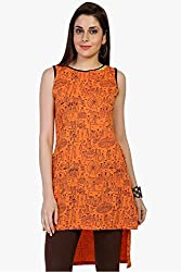 Funk For Hire Women Cotton Sinkar knit Mela printed sleeveless Tunic (Coral Red, Size M)