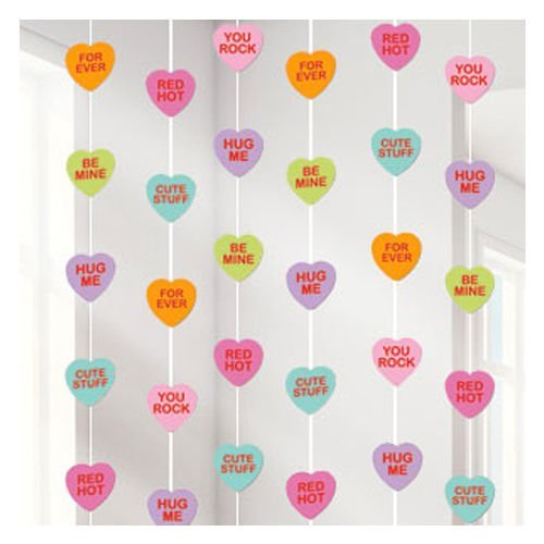 Valentines Day Candy Love Heart String Decorations x 6