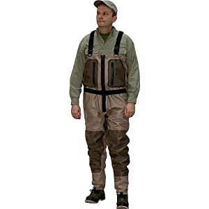 Caddis Mens Tan and Green Northern Guide Relief Zipper Breathable Stocking Foot Wader by Caddis Wading Systems