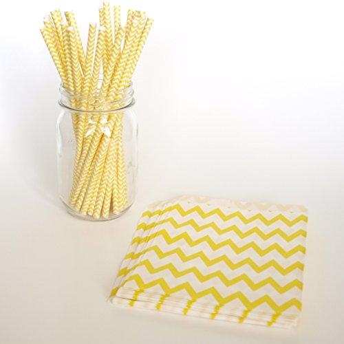 Lemonade Straws, Birthday Party Favor Ideas, Wholesale Drinking Straws, Yellow Treat Bags, 2 Combo Party Supply Kit - Yellow Chevron front-708129