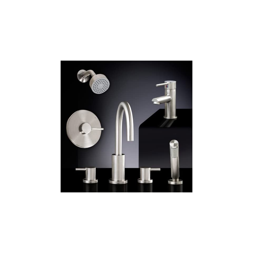 Rotunda Bathroom Faucet Set #7   Roman Tub, Shower, Single Hole with No Overflow   Chrome