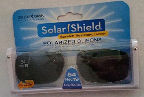 Solar Shield Polarized Clip-on Sunglasses 54 Rec 19 Gray Lenses Fits Full Frame