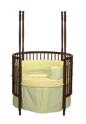 Baby Doll Solid Reversible Round Crib Bedding Set, Mint/Yellow (Discontinued by Manufacturer)
