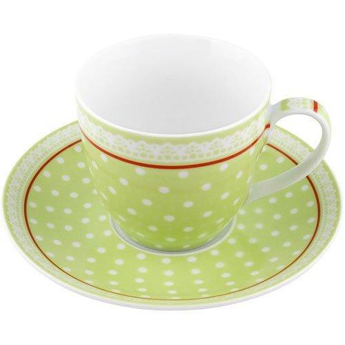 Giftcompany Fräulein Lotte Tasse und Untertasse, Punkte, grün, Porzellan, Punkte, grün, T=8x7,5cm, UT=D15,7cm