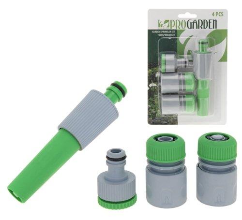 4-teilig Rasensprenger-Set Schlauch-Set Bewässerungs-Set grün-grau