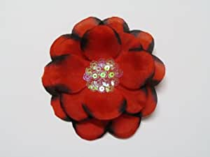 """Red 4"""" Sequin Center Flower Hair Clip Hair Accessories For All Ages [Misc.]"""
