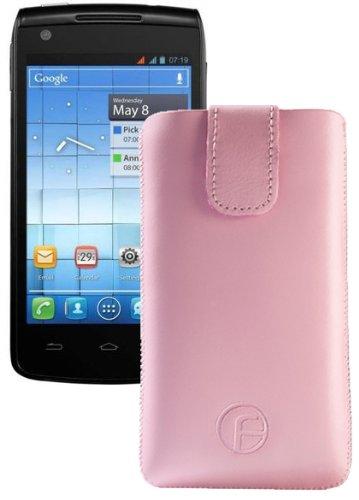 Original Favory Etui Tasche fuer / Alcatel One Touch 992D (Dual-Sim) / Leder Etui Handytasche Ledertasche Schutzhuelle Case Huelle *Speziell - Lasche mit Rueckzugfunktion* In Rosa