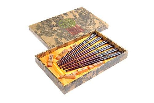 """Abacus Asiatica: """"Dragon noir"""" élégant lot de baguettes chinoises dans une boite décorative, baguettes de bois sculptées (6 paires de baguettes avec"""