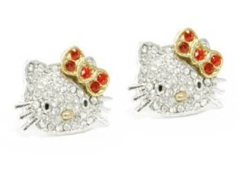 Adorable Silver Plated Hello Kitty Crystal Cz Stud Celebrity Teen Earrings with Red Bow