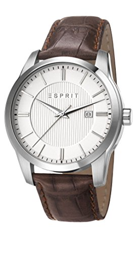 Esprit  ES107591002 - Reloj de cuarzo para hombre, con correa de cuero, color marrón
