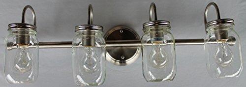 Mason Jar Lighting, 4 light brushed nickel vanity light with clear mason jar glass (Mason Jar Bathroom Lighting compare prices)